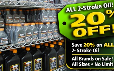 Save 20% on all 2 stroke oil everyday at power mower sales in Miami