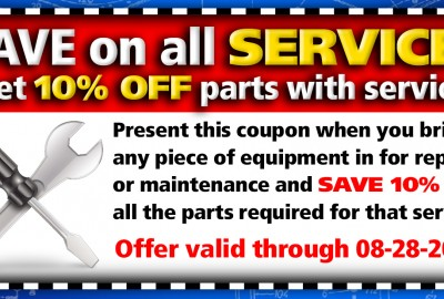 Save 10% on All parts with any service